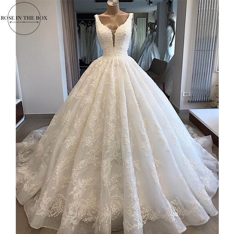 Stunning Beading Wedding Dress 2019 Shinny Appliques Backless Bridal Dress Sexy Sleeveless Wedding Gowns Gelinlik
