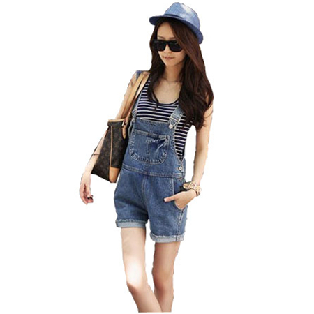 New 2016 Casual loose denim shorts strap one piece jeans women Jumpsuits Rompers Girl Washed overalls blue Hole S-XL Z1033