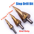 1pc HSS Titanium Coated Step Drill Bit 4-12/4-20/4-32mm Triangle Shank Spiral Grooved Step Drill for Metal Drilling Drill Bit