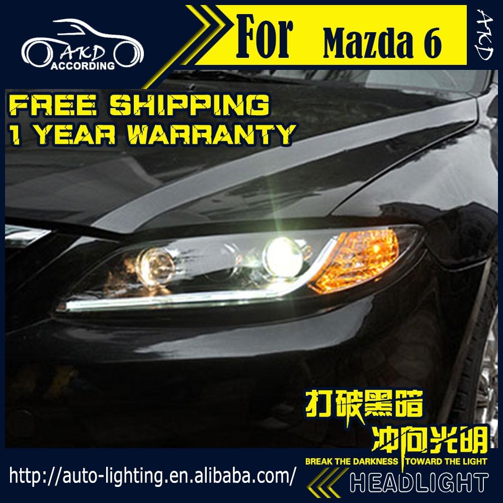medium resolution of akd car styling head lam for mazda 6 headlights 2004 2013 mazda6 led headlight led drl d2h hid option angel eye bi xenon beam