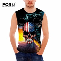 FORUDESIGNS Hip Hop Style Tank Top Men Undershirt Vest 3D Skull Printed Bodybuilding Clothing Regata Masculing