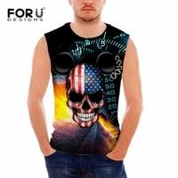 FORUDESIGNS Hip Hop Style Tank Top Men Undershirt Vest 3D Skull Printed Bodybuilding Clothing Regata Masculing