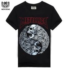 [Mne bone] Tee Men Black T-Shirt 100% Cotton Metallica Skull Print Heavy Metal Rock Hip Hop Clothing Black short T shirts