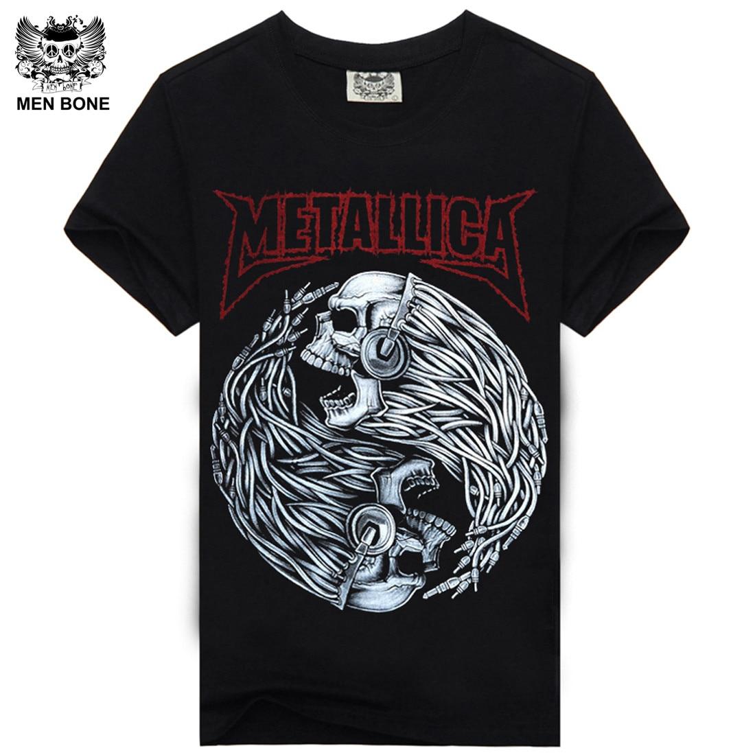 mne bone tee men black t shirt 100 cotton metallica skull print heavy metal rock hip hop. Black Bedroom Furniture Sets. Home Design Ideas