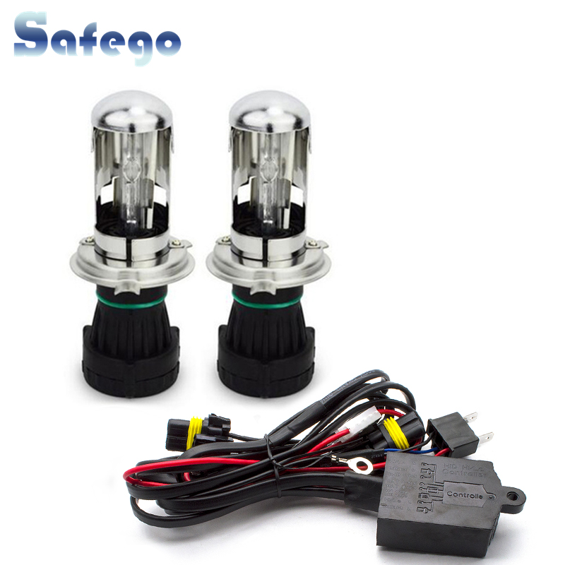 Safego bi xenon H4 bi-xenon bulb 35w H4-3 HID BIXENON REPLACEMENT Headlight Hi/Lo Bulbs 4300K 6000K 8000K with Relay HarnesSafego bi xenon H4 bi-xenon bulb 35w H4-3 HID BIXENON REPLACEMENT Headlight Hi/Lo Bulbs 4300K 6000K 8000K with Relay Harnes