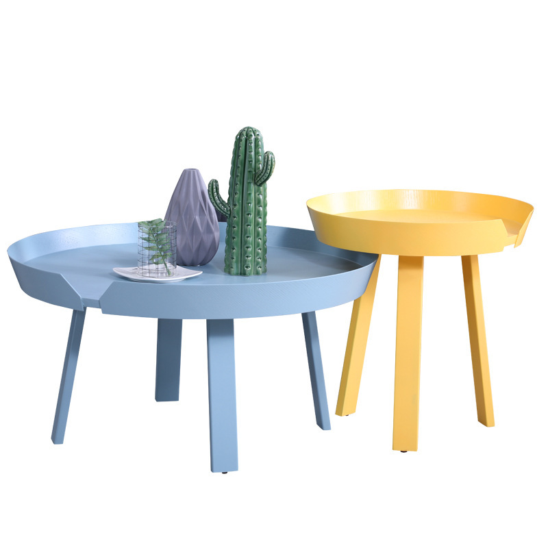 North European solid wood small tea table simple modern living room small apartment creative round colorful small table metal wire tea table simple and modern solid iron small round table living room small creative small coffee table