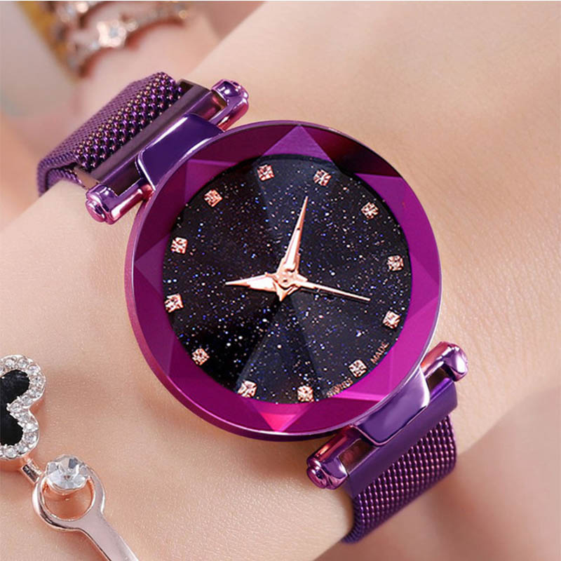 Luxury Purple Vibrato Ladies Watch Starry Sky Magnetic Watch Waterproof Female Wristwatch  Gift Relogio Feminino Montre Femme501