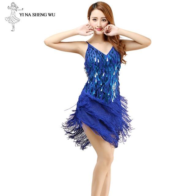 فستان رقص اللاتينية مثير هامش النساء أزياء رقص موضة جديدة بلا أكمام فستان الترتر أداء الملابس الرخيصة