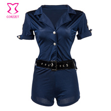 Blue Halter Waist Belt Jumpsuit Office Outfit Womens Sexy Costumes Police Role Play Lingerie Cospaly Fantasia Women  Clothing