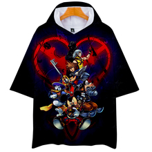LUCKYFRIDAYF 3D kingdom hearts Hoodies Short Sleeve Hip Hop Fashion Kpop Casual Summer/Autumn Soft Sweatshirts