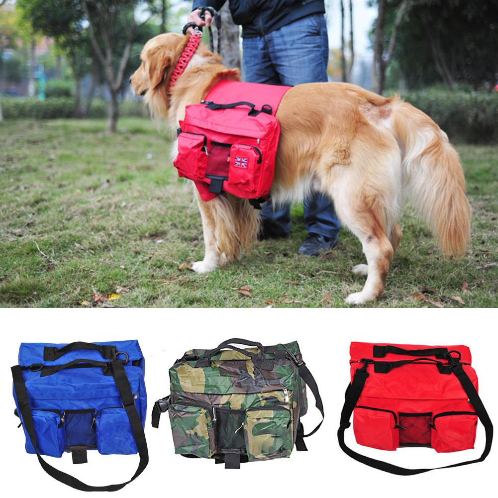 Amy Dog Bags 2 In1 Pets Harness Reflective Safety Adjustable Unique Tas Ransel Korean Elite Backpack K 9 Saddle Bag Pet Golden Retriever Samoyed Oxford Cloth Knapsack Outdoor Camping Hiking For Large
