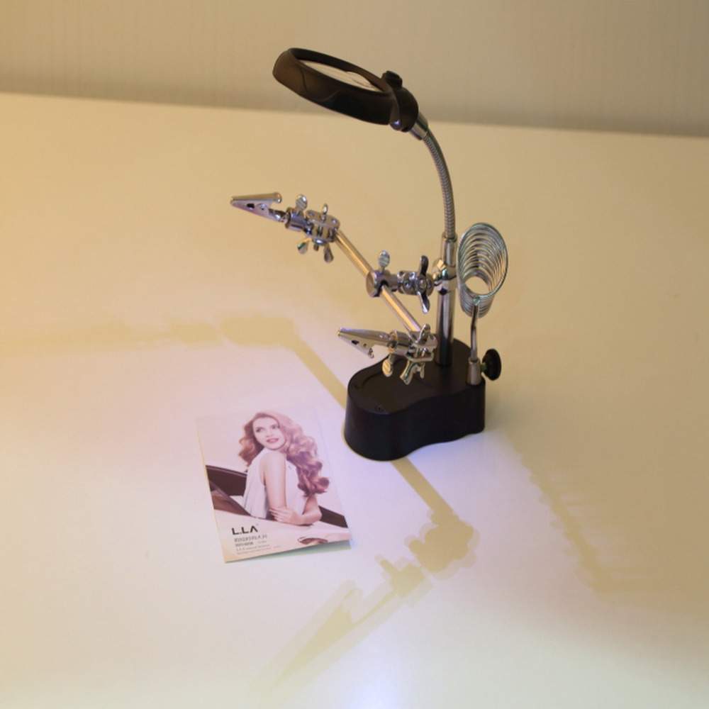 3.5x 12X LED Lumière Loupe et Lampe de Bureau Coup de Main De Réparation Pince Clip Stand De Bureau Loupe Outil vente Chaude