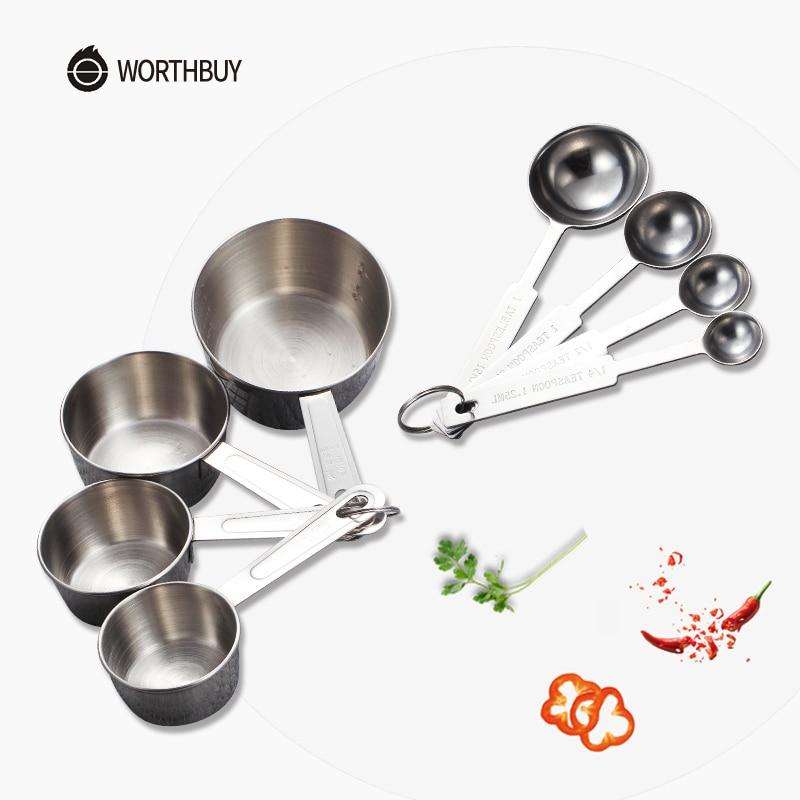 WORTHBUY Edelstahl Messbecher Tee Kaffee Metall Messlöffel Scoop Für Kochen Kichen Zubehör Mess Werkzeuge Set