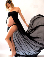 Black White Sexy Maternity Dresses for Photo Shoot Photography Props Women Pregnancy Dress Lace Long Strapless Maxi Dress