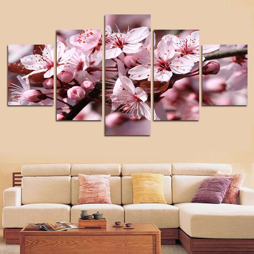 Home Decor Pictures HD Prints 5 Pieces Peach Cherry Blossoms Landscape Painting Wall Art Canvas Flowers Poster Modular Framework