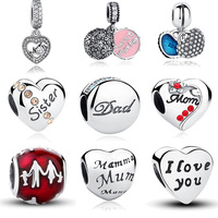 100 Authentic 925 Sterling Silver Family Dad Mum Charm Beads Fit Pandora Bracelet Pendants DIY Original