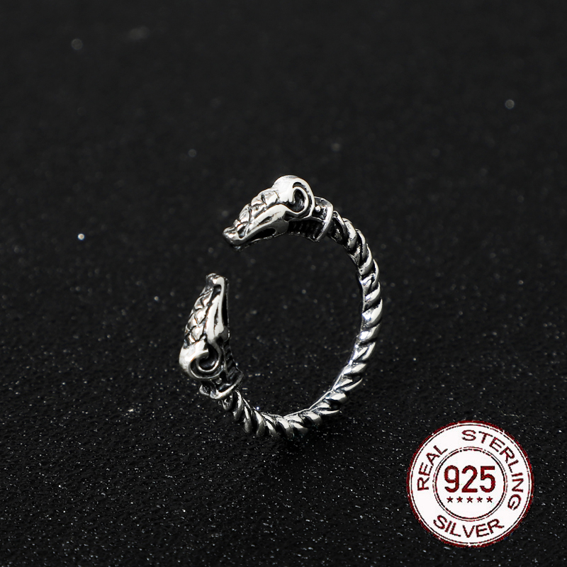 S925 Sterling Silver Viking Adjustable Goat Twist Ring With Vintage Viking Wood Box