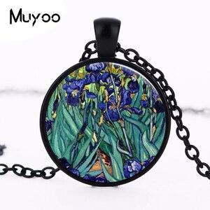 Кулон Ван Гога в стиле стимпанк, ожерелье с ирисами, весенние цветы, сад, цветочный кулон, натуральный подарок, Женская цепочка, Шарм для Докт...