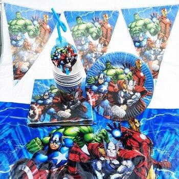 82 шт./компл. супергерой Мстители детский день рождения таблички чашки салфетка соломенная Скатерть украшения вечерние вечеринок детский де...
