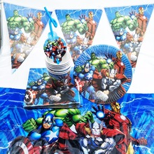 Plates Cups Napkin-Straw Tableware Birthday-Decoration-Supplies Shower-Favors Avengers