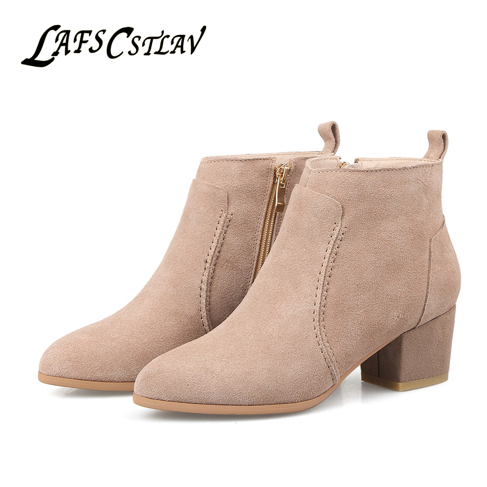 LAFS CSTLAV Genuine Leather Cow Suede Chelsea Boots Woman Zipper High Quality Comfortabl ...