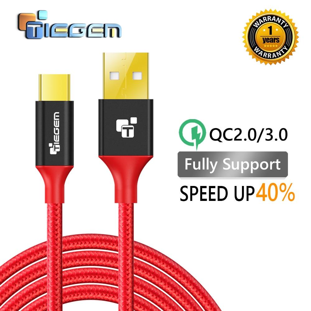 TIEGEM 3.1 USB Type C kabel Nylon Rychlé nabíjení USB Type-C USB-C datový synchronizační nabíjecí kabel pro OnePlus 2 ZUK Z2 NEXUS 5X 6P Xiaomi