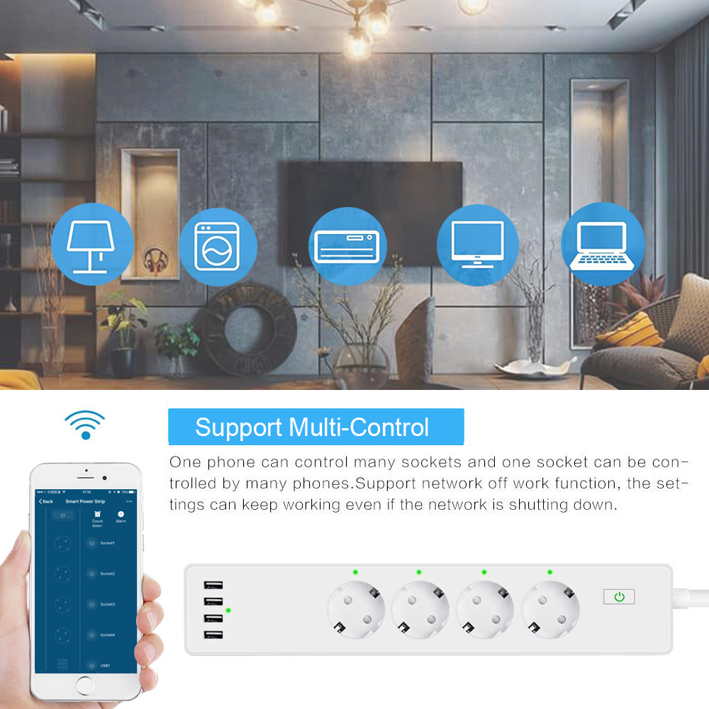 Image 3 - Wifi Smart Power Strip 4 EU Outlets Plug with 4 USBCharging Port Timing App Voice Control Work with Alexa Google Home Assistant-in Smart Power Socket Plug from Consumer Electronics