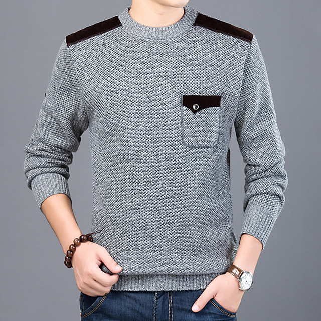 2018 Autumn Winter Fashion Mens Pullover Sweater Coat Men Slim Fit Patch  Stitching Warm Thicken Knitting 9fa60679b2