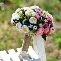 2018 Purple Pink Wedding Bouquet Handmade Artificial Flower Rose Buque Casamento Bridal Bouquet For Wedding Decoration