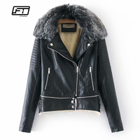 Fitaylor Winter Faux Soft Leather Women Jacket Coats Warm Large Fur Collar Black Motorcycle Jacket Detachable Female Outerwear