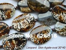 Envío gratuito de alta calidad Natural perlas originales 30 * 40 mm Leopard ágata Oval de la joyería Vintage pulsera europea