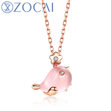 ZOCAI 2016 New Arrival The Little Magpie Real 2 8 CT Rose Quartz 0 01 CT