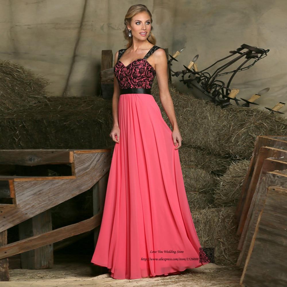 Black Lace Wedding Gowns: Water Melon Black Lace Long Wedding Party Dresses Straps