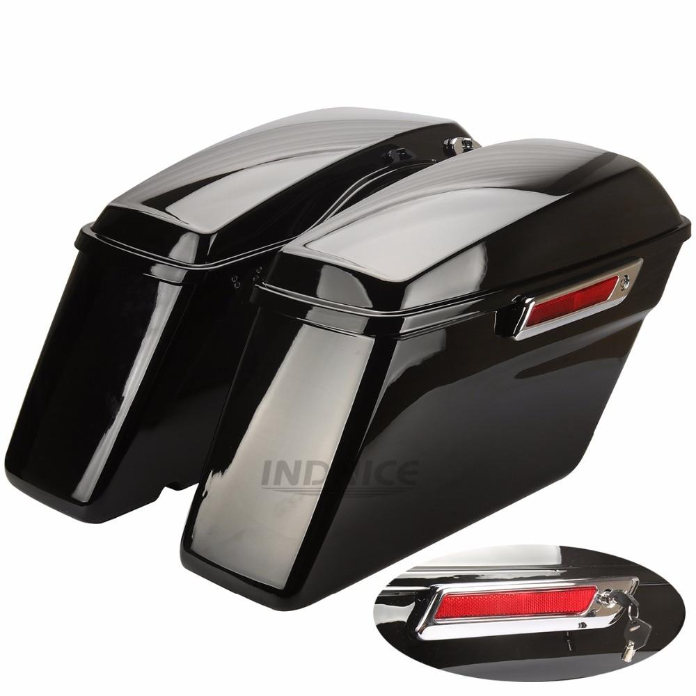 Vivid Black Dura Borse da Sella street glide flhx Tronco con il Fermo chiavi Per Harley electra glide 2014-2018
