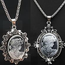 2 PCS moda luxo cabeça de prata antigo Vintage strass colar pingente para mulheres jóias A132
