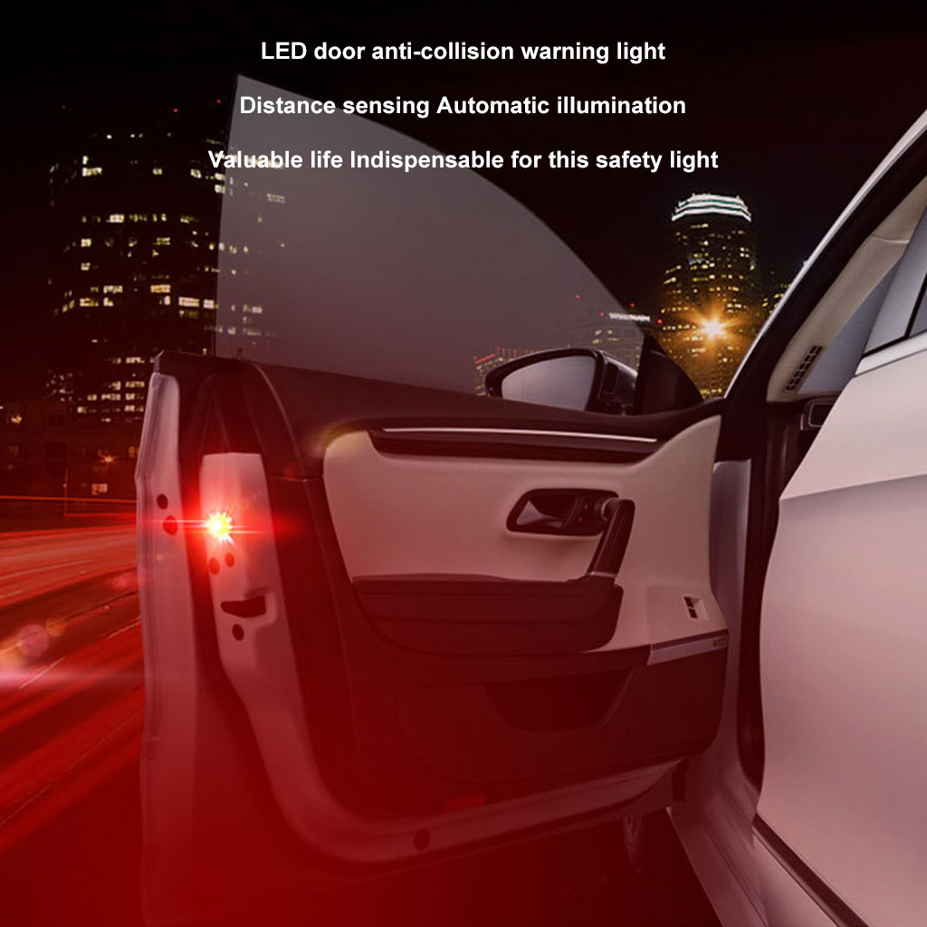 Image 2 - 2PC Car Accessories LED Lamps For Cars 5LED Car Door Warning Light Wireless Anti Rear Collision Lamp Kit Flash-in Signal Lamp from Automobiles & Motorcycles