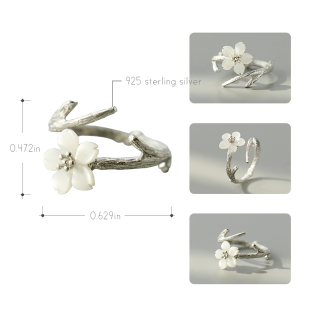 Thaya White Cherry Blossom Silver Ring s925 Silver Natural Pearl Shell Flower Branch Rings for Women Elegant Ladies Jewelry 3