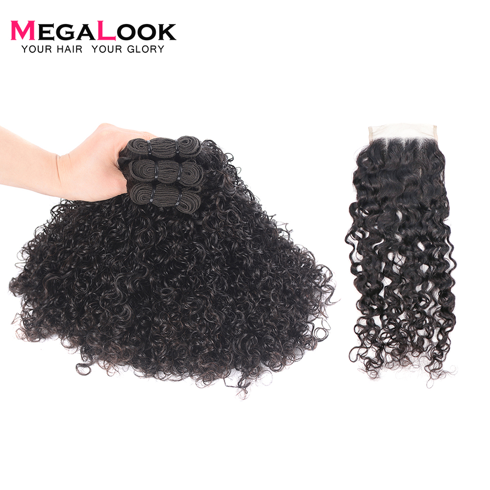 Megalook Funmi 3 Bundles with 4 4 Lace Closure Brazilian Telephone Curl Human Remy Hair Extensions