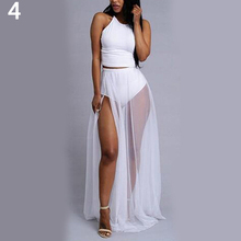New Arrival Women Summer Sexy Sleeveless O-Neck Top + Chiffon Slit Long Skirt 2 Pieces Set