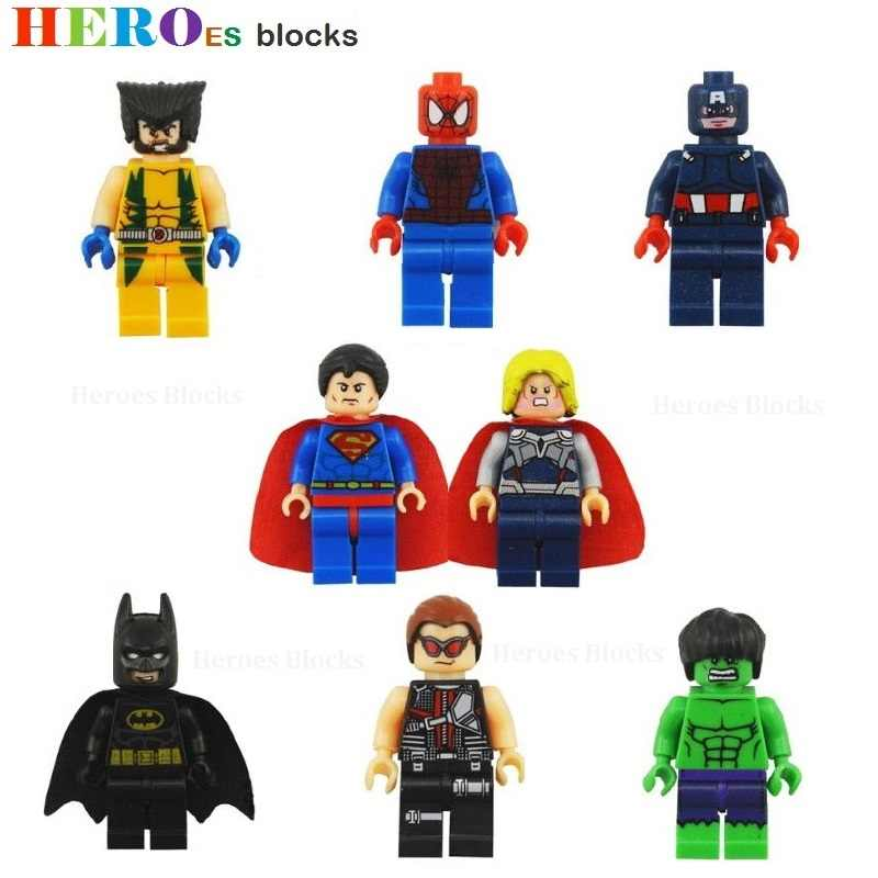 Single Sale Super Pahlawan Model Blok Bangunan Gambar Batu Bata Mainan Anak Hadiah Kompatibel Legoed Superman Hulk Batman Spider Ironman