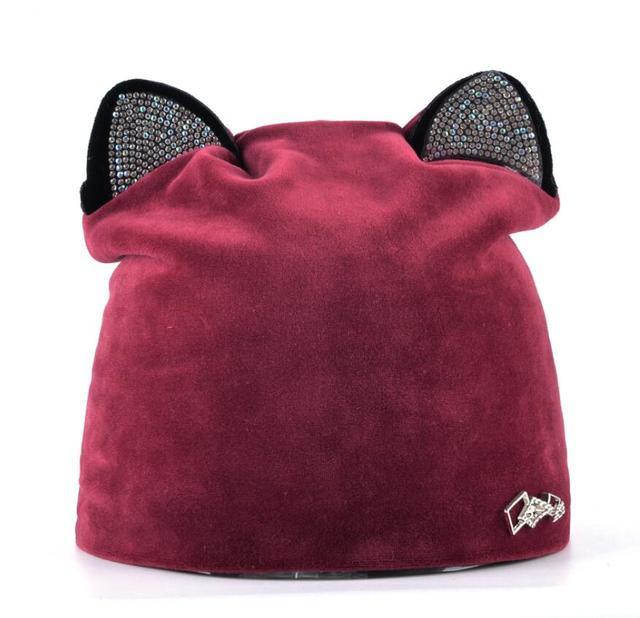 Autumn Winter Women's Beanies Cat Hat Ladies Warm Velvet Skullies Cap With Flashing Rhinestone Ear Flaps Girls Cute Bonnet Touca