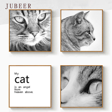 Scandinavian Style Decorative Painting Cute Animal Cat Poster And Print Fashion Frameless Painting for Living Room Bedroom