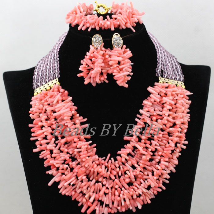 Charming Pink Coral/Crystal African Wedding Beads Necklace Bracelet Earrings Nigerian Bridal Jewelry Sets Free Shipping ABK081Charming Pink Coral/Crystal African Wedding Beads Necklace Bracelet Earrings Nigerian Bridal Jewelry Sets Free Shipping ABK081