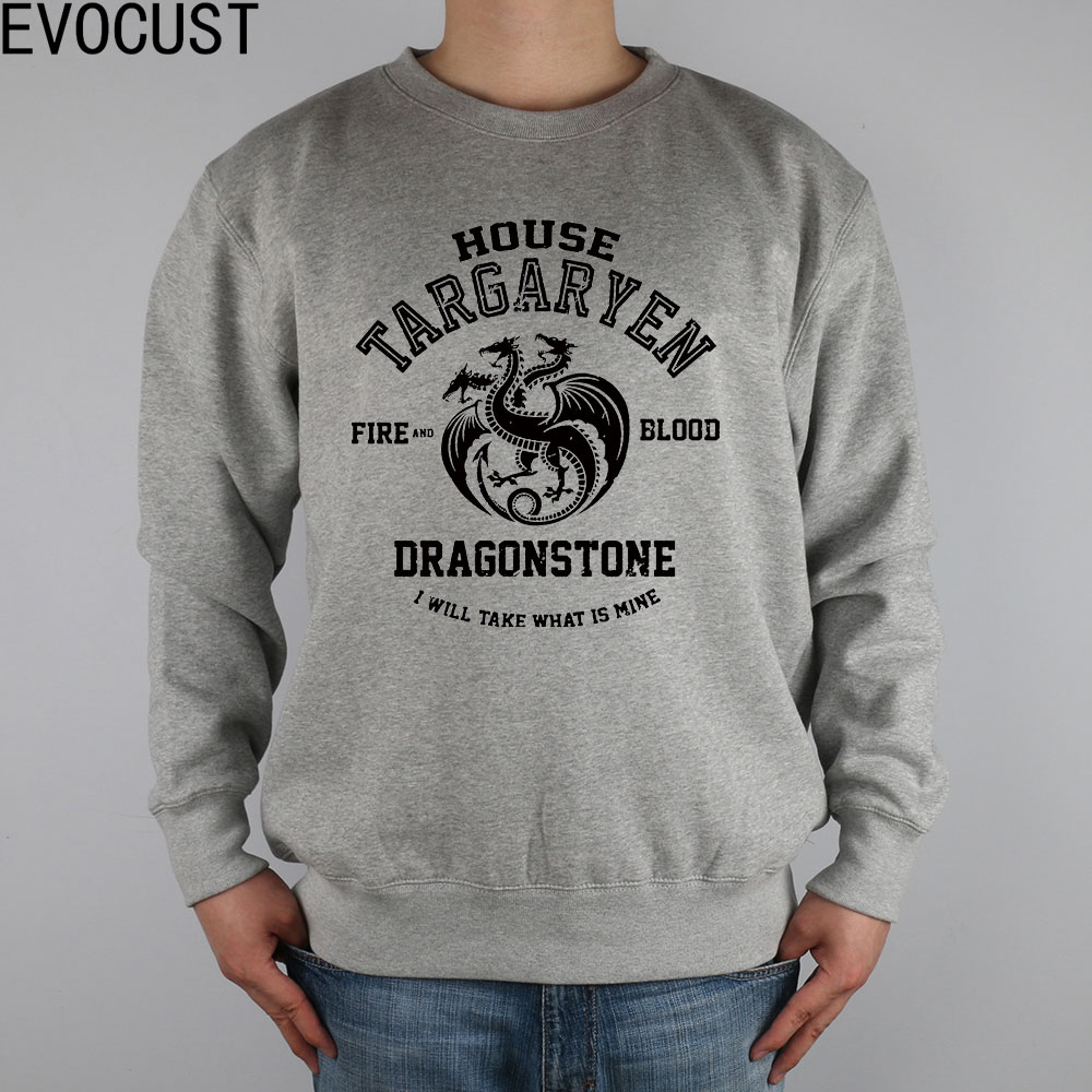 SX HOUSE TARGARYEN FIRE AND BLOOD DRAGONSTONE GAME OF THRONES men Sweatshirts Thick Combed Cotton