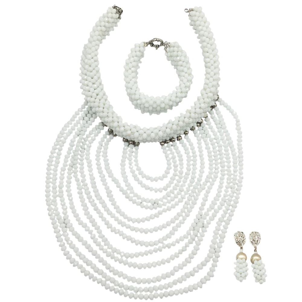 Fashion White Crystal Beads Necklace Earrings Bracelet Nigerian Wedding Beads African Jewelry Set for Women DDK014 fashion white crystal beads necklace earrings bracelet nigerian wedding beads african jewelry set for women ddk014