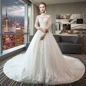 Image 2 - Fansmile luxe longue Train Vestido De Noiva dentelle robe De mariée 2020 personnalisé grande taille robes De mariée robe De mariée FSM 490T