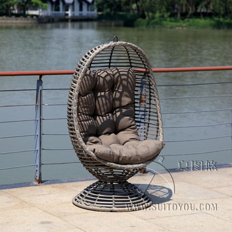 Furniture Modern Bay Swing Chair -tan Basket with grey Cushion
