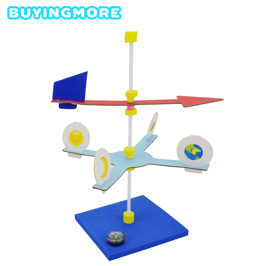 Diy Wind Vane Model Kit Toys For Children Creative Physics Experiment Handmade Assembly Early Learning Educational Science Toy
