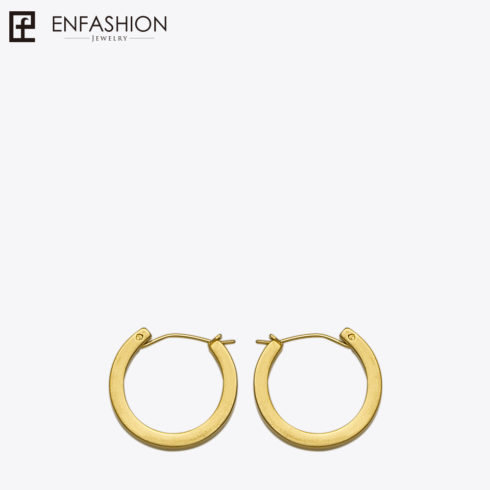 Enfashion Vintage Circle Large Hoop Earrings Matte Gold color Earings Stainless Steel Big Hoops Earrings For Women Jewelry bamboo big hoop earrings