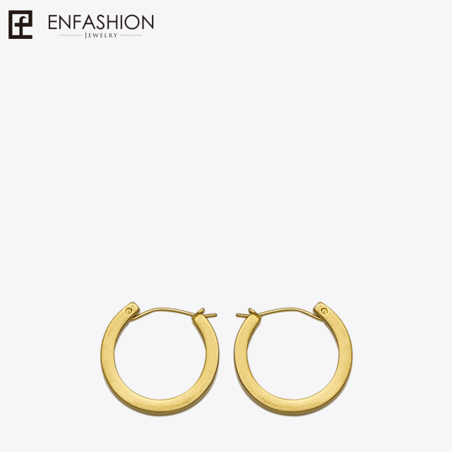 Enfashion Vintage Circle Large Hoop Earrings Matte Gold Color Earings Stainless Steel Hoops For
